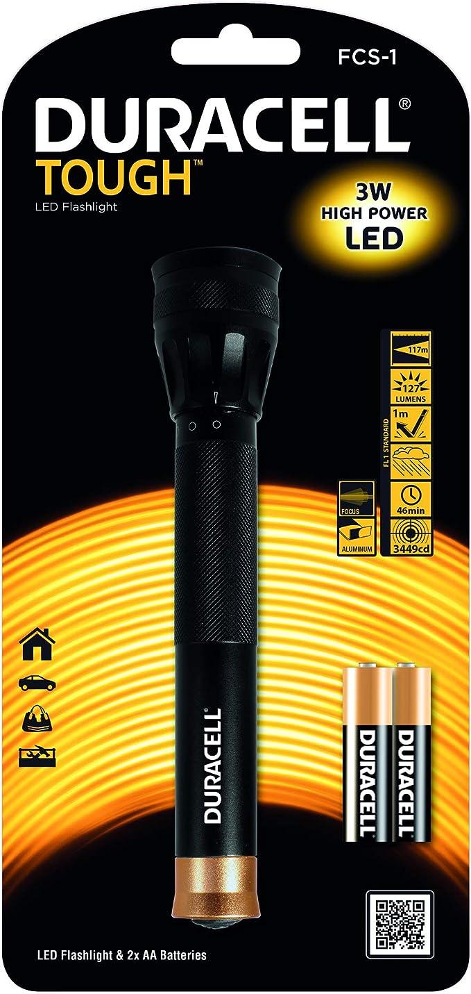 Duracell FCS-1 LED Taschenlampe 3W Aluminium Gehäuse Spritzwassergeschützt