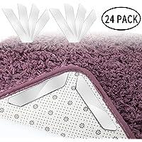 EXTSUD 24 Stück Antirutschmatte für Teppich,Anti Rutsch Teppichunterlage + 24 Stück Ersatzstreifen, waschbar Teppich Ecke rutschfest Teppichstopper wiederverwendbar Rutschschutz für Teppich