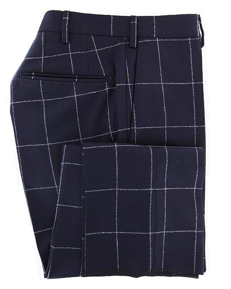 Incotex Dark Navy Blue Window Pane Wool Pants Slim At Amazon Men S