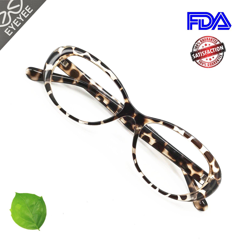 Reading Glasses Blue Light Blocking - Oval Computer Eyeglasses Frames for Women (Brown Tortoise, 0.75)