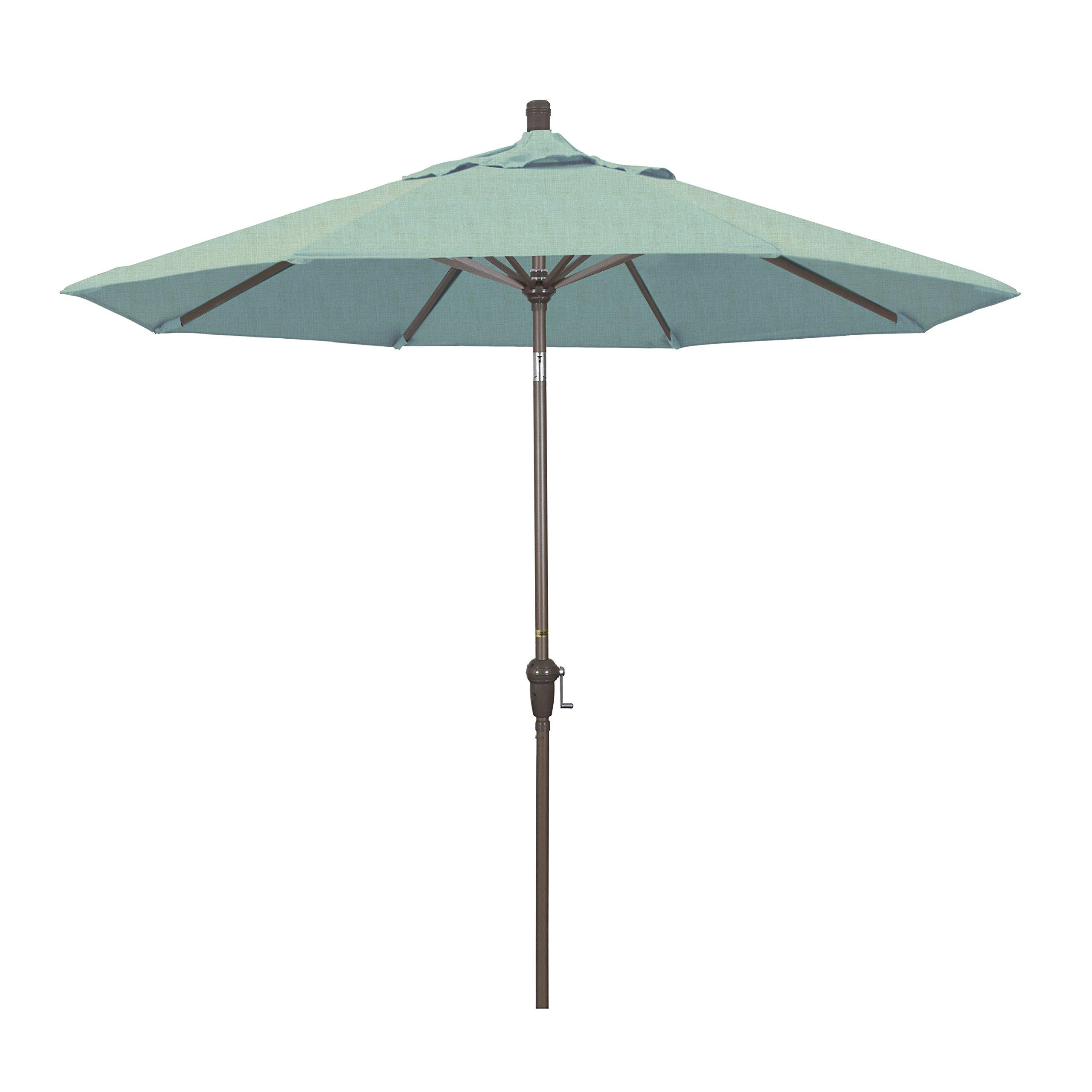 California Umbrella 9' Round Aluminum Market Umbrella, Crank Lift, Auto Tilt, Champagne Pole, Sunbrella Spa