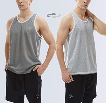 Vogyal Mens Reversible Tank Tops Mesh Sleeveless Shirts for Athletic Gym Workout Bodybuilding Sports