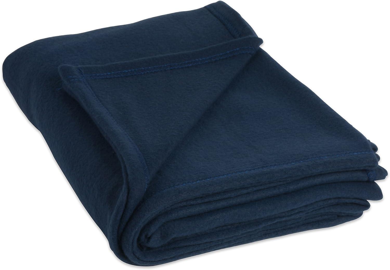 J&M Home Fashions Luxury Fleece Blanket, Twin/Twin X-Large, Dark Blue
