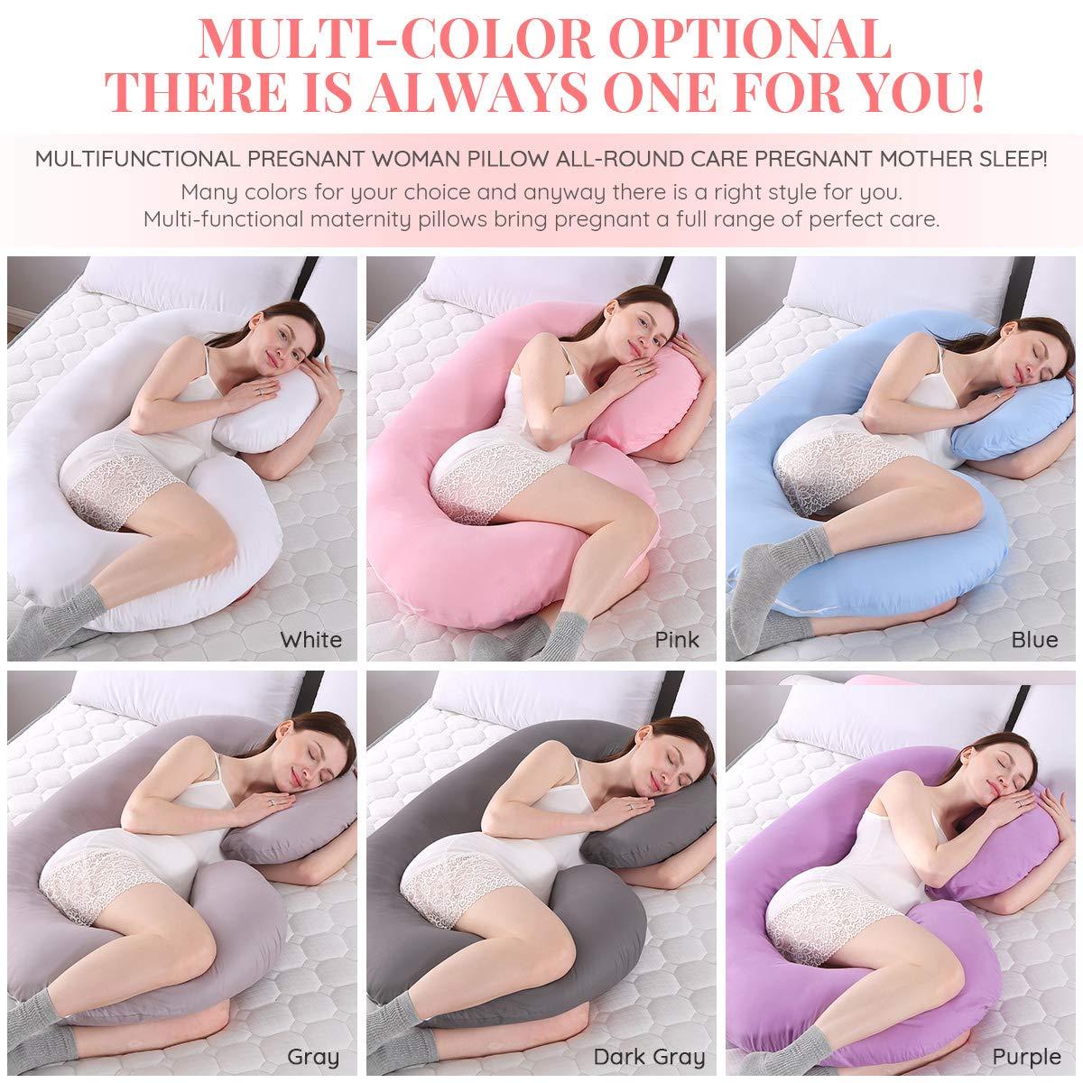 MINGPINHUIUS Pregnancy Body Pillow with Pillowcase Pregnancy Pillow and Maternity Pillow for Pregnant Women Sleeping 51 Fuller Cotton C Shaped Pink