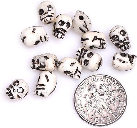 Amazon Com Gem Inside 7x8mm Ivory White Carved Bone Skull Beads For Halloween Jewelry Making Bulk 25 Pcs Arts Crafts Sewing
