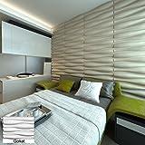 3D Wandpaneel Als Wanddeko Aus Bambusfaser, Modell: Amanda, Weiß