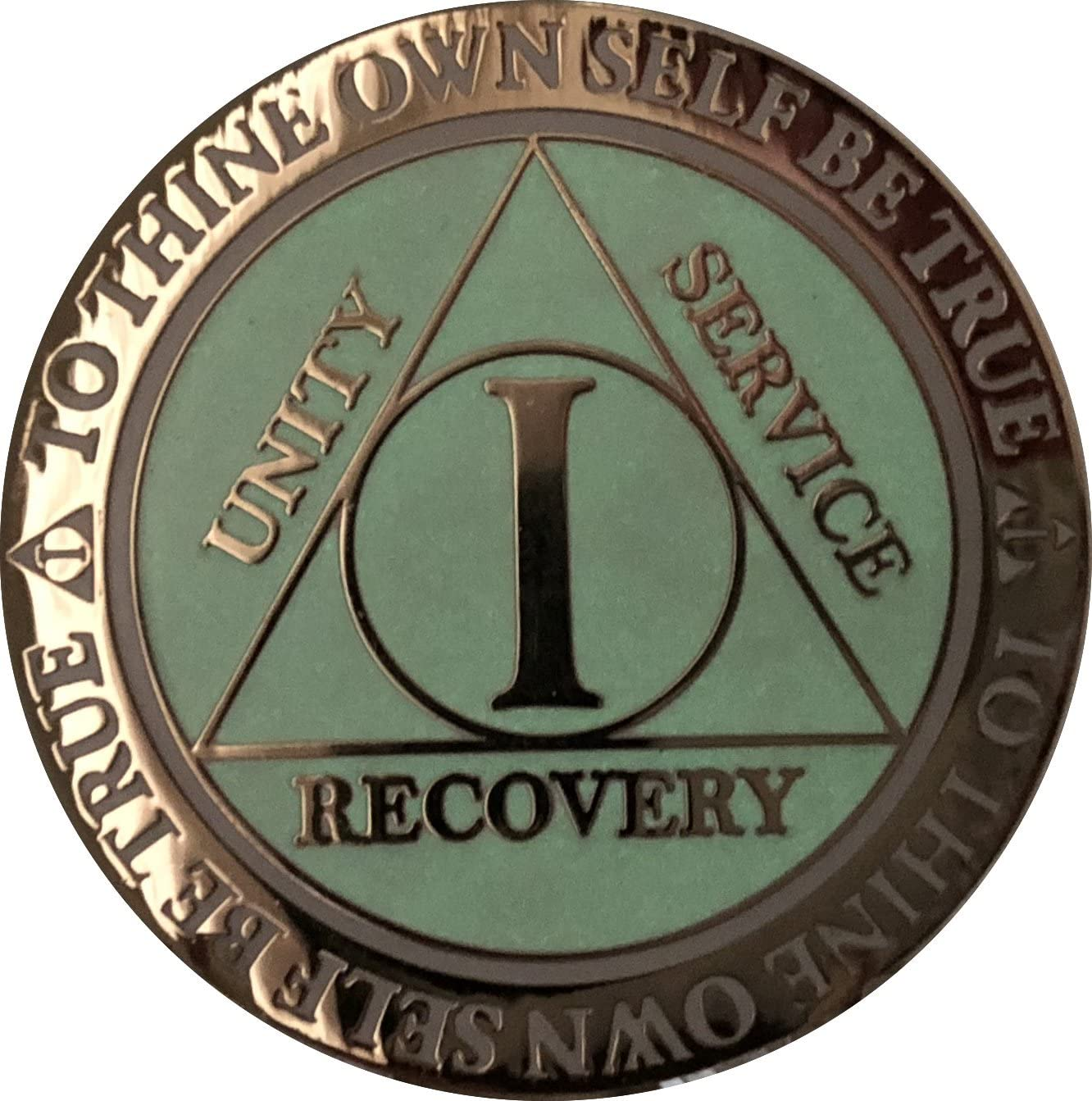 Recoverychip 4 Year AA Medallion Reflex White Glow in The Dark Gold Plated Chip