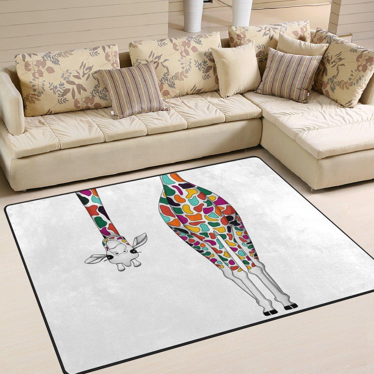 Naanle Farbeful Giraffe Kunst, Malerei, rutschfest, Bereich Teppich für Dinning Wohnzimmer Schlafzimmer Küche, 50 x 80 cm (7 x 2,6 m), lustige Tiere Kinderzimmer-Teppich Boden Teppich Yoga-Matte, multi, 150 x 200 cm(5' x 7')