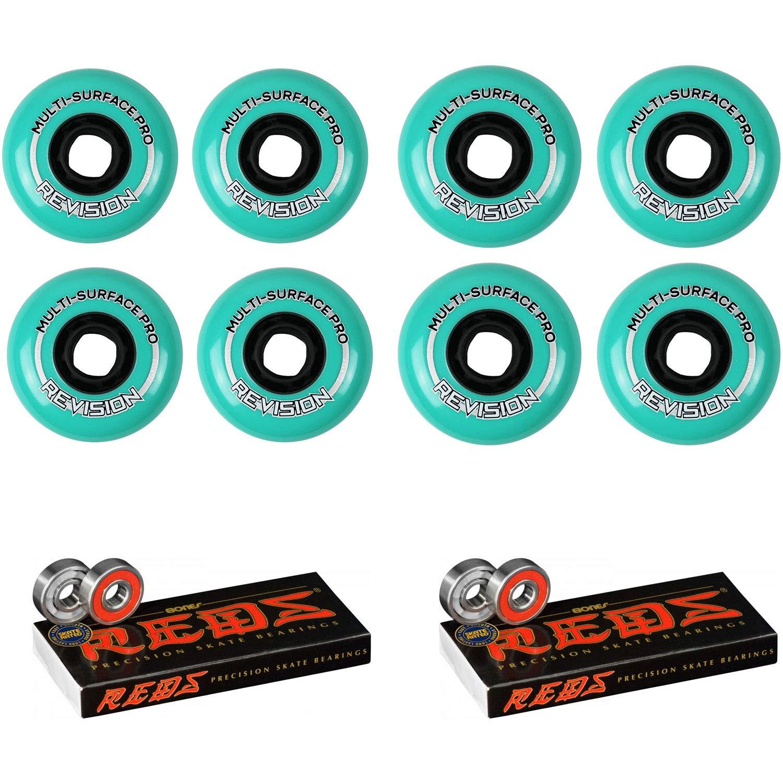 Revision Wheels Inline Roller Hockey Multi Surface 76/80mm 84A Hilo + Bones Bearings
