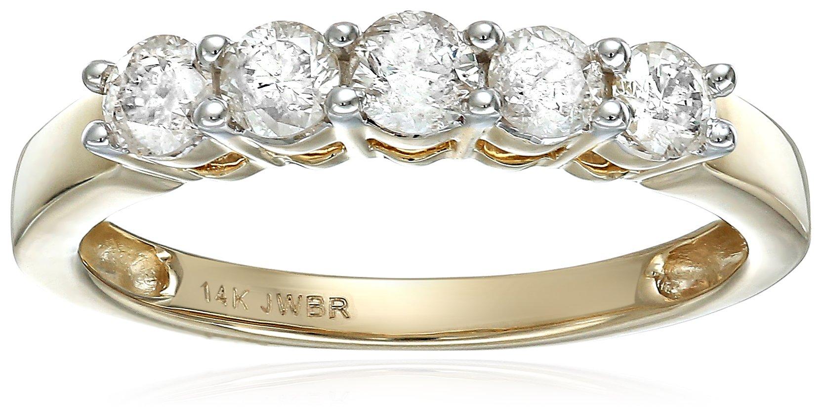 14k Yellow Gold 5 Stone Diamond Anniversary Ring(1/2cttw), Size 7