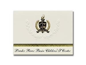 Signature Announcements Powder River Basin Children'S Center (Gillette, WY) Graduation Announcements, Presidential Basic Pack 25 with Gold & Black Metallic Foil seal