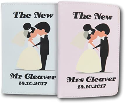 Personalised Mr /& Mrs Bride and Groom Passport Covers Holder Set Wedding Gift