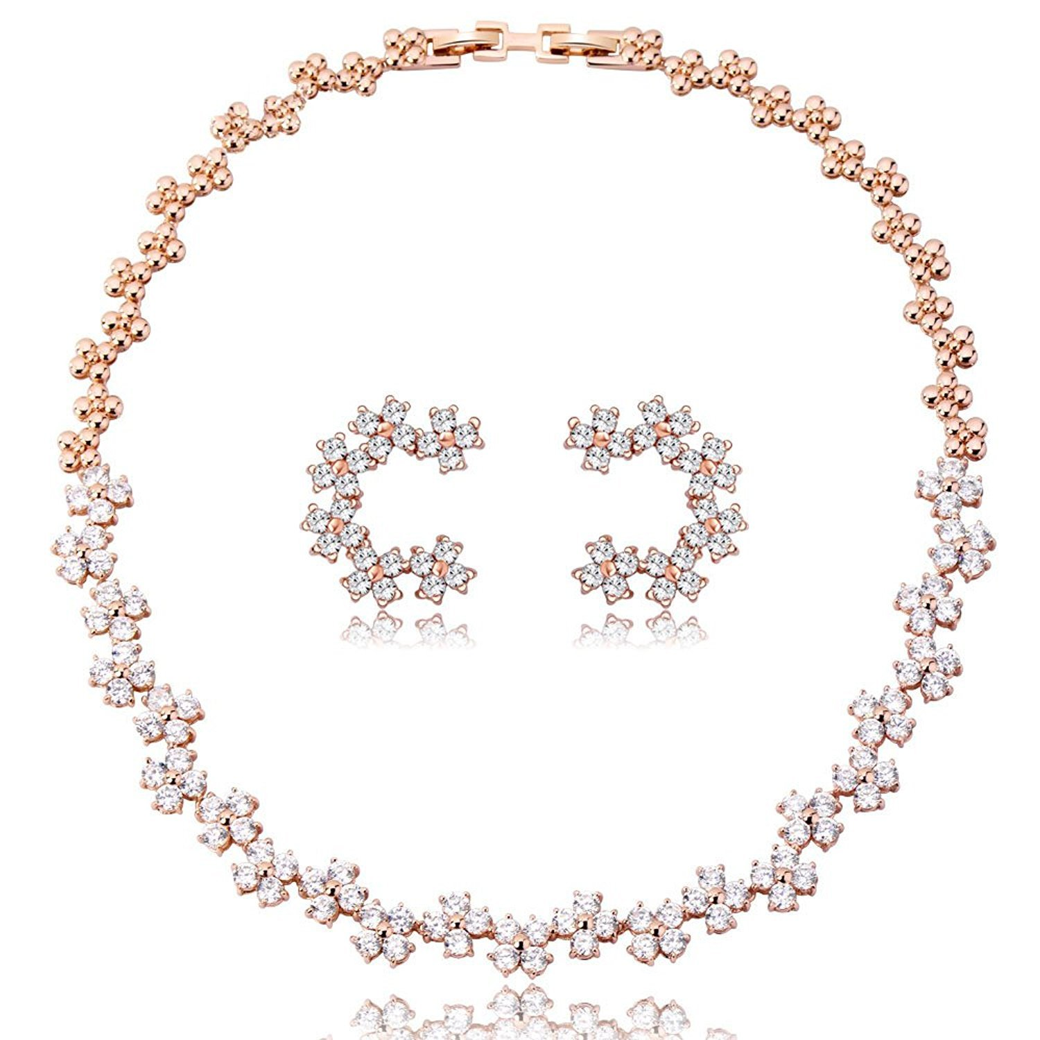 IUHA Austrian Cryatals Princess style Eye-catching Statement Necklance and Earrings Luxury Jewelry Sets Party Wedding Prevent allergies Gift