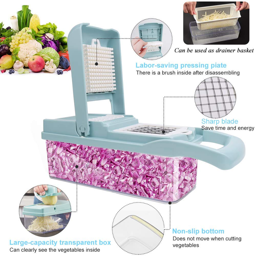 Vegetable Chopper,Fruits Cutter,12-in-1 Vegetable Cutter Mandoline Slicer Food Chopper/Cutter with 7 Stainless Steel Blades, Adjustable Slicer & Dicer with Storage Container and Non-Skid Base