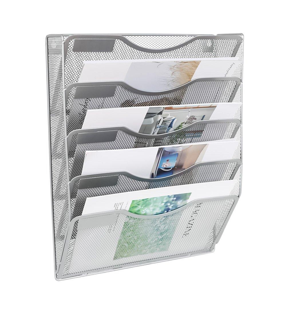 EasyPAG 5 Pockets A4 Wall File Holder Hanging Literature Organiser Rack,Silver