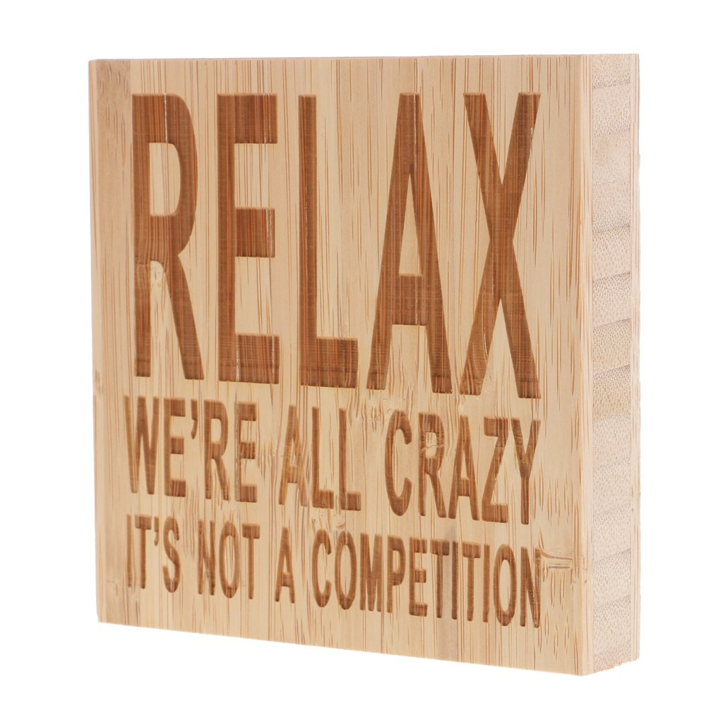 Fenteer Relax Were All Crazy Its Not A Competition Vintage Wooden Board Home Wall Decor Sign