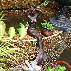 Adorno Piscina Sirena Decoración De Jardín Esculturas De Figuras Hierro Fundido Retro Para La Decoración Hogar Al Aire Libre Del Courtyard Villa: Amazon.es: Hogar