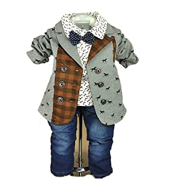 606020c6c8bb Amazon.com  SOPO Baby Boys Formal Paid 3 Piece Outfit (Jacket