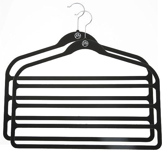 Black LOT OF 2--JOY MANGANO Huggable Hangers 4-Bar Hangers FOR PANTS