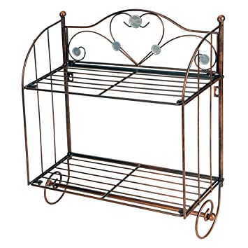 Wall Mounted Metal 2 tier Bathroom Storage Shelf Rack With Towel Bar. Amazon com  Wall Mounted Metal 2 tier Bathroom Storage Shelf Rack