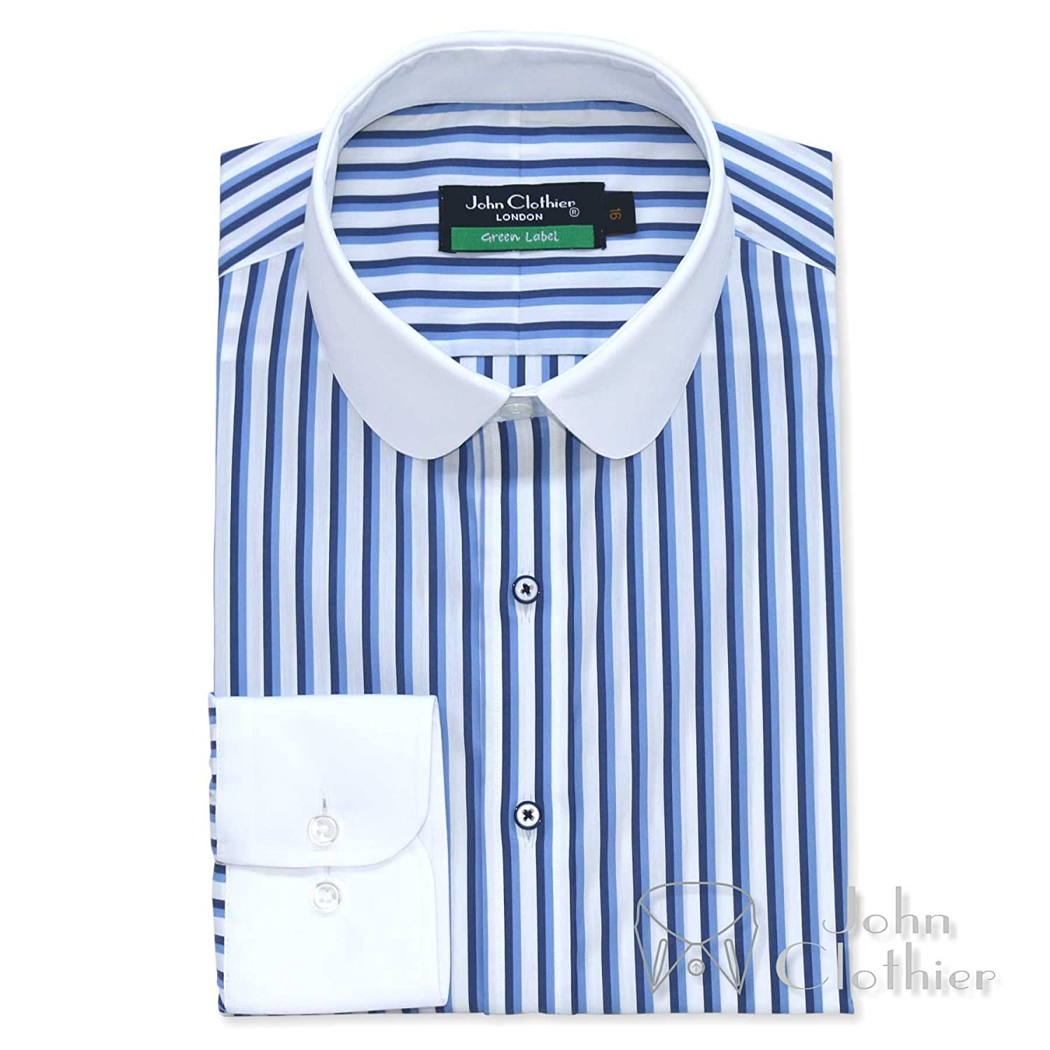 Men's Vintage Style Shirts WhitePilotShirts Mens Penny Collar Bankers Shirt Blue Black Stripes 100% Cotton Round Collar Long Sleeves Single Cuff Gents 500-01 £69.99 AT vintagedancer.com