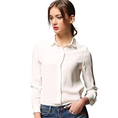 Chesslyre 100 Silk Shirt For Women Button Down Slim Fitted Long