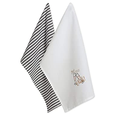 DII 100% Cotton 18x28 Chritmas New Year Dish Towels Set of 2-POP Fizz CLINK