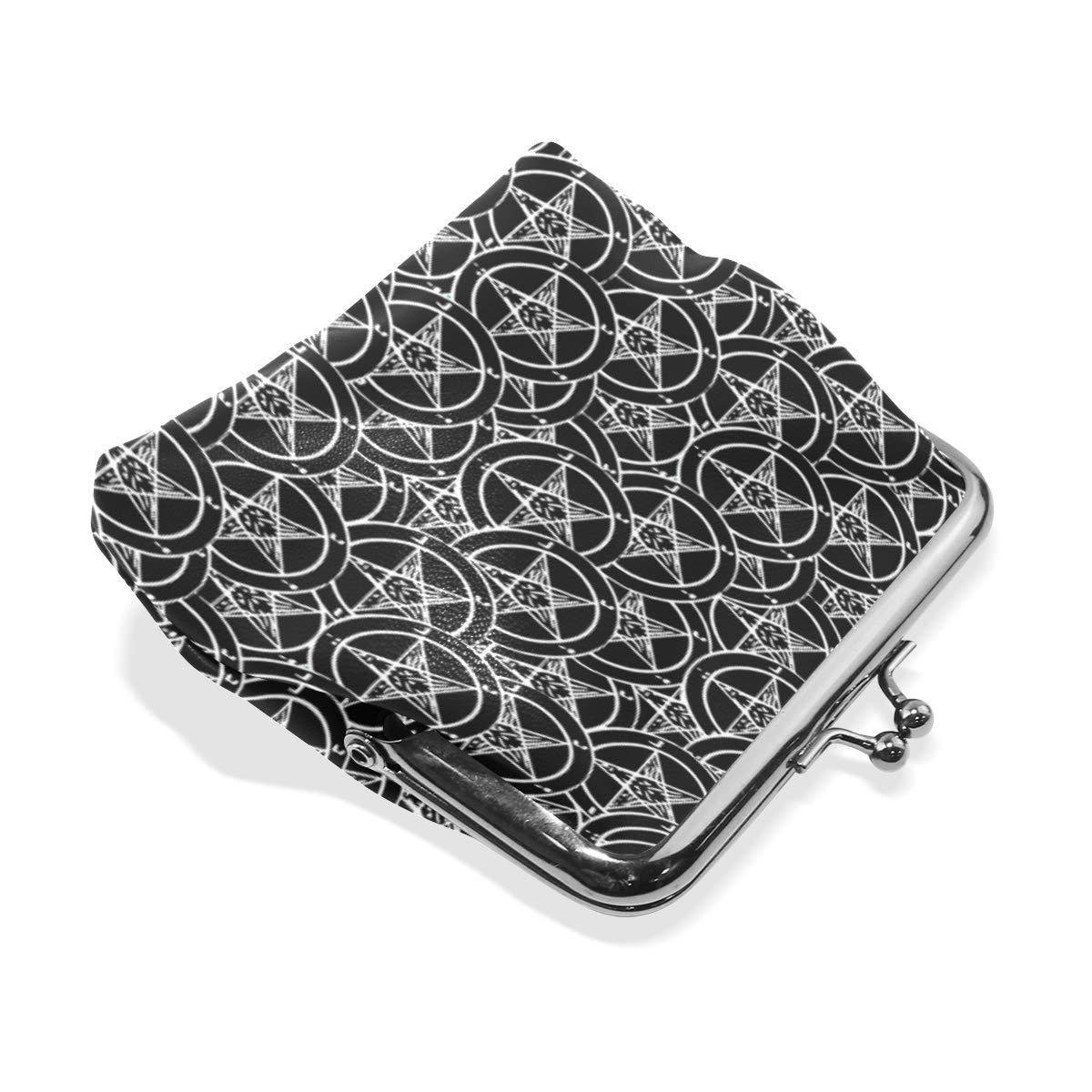 Satanic Sigil Baphomet Pentagram Coin Purse Buckle Vintage PU Pouch Kiss-lock Wallet for Women Girl
