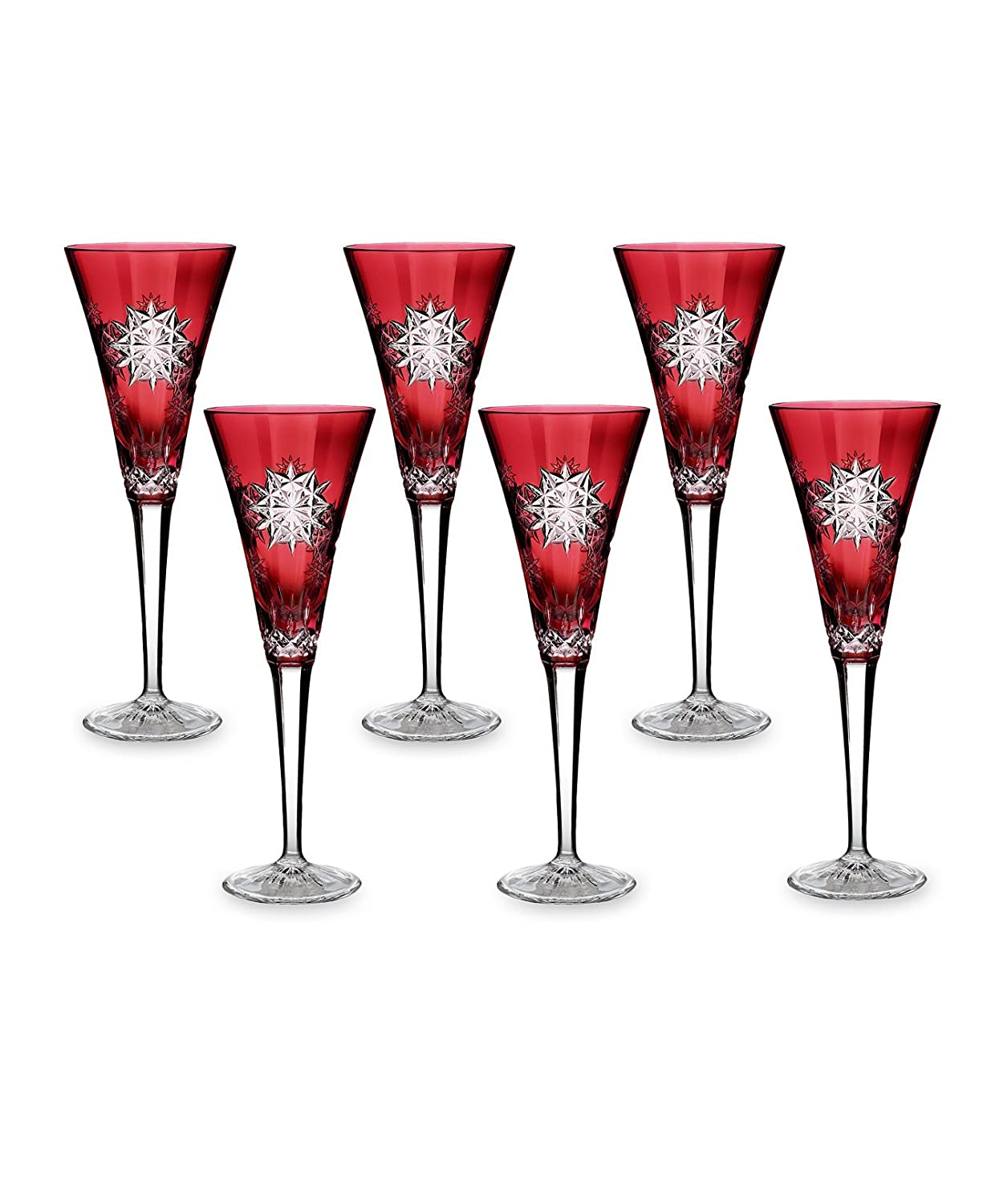 Christmas Tablescape Décor - Waterford Lismore Cut Crystal Snowflake Ruby Red Wishes for Joy 2011 Holiday Edition Champagne Flute - Set of 6