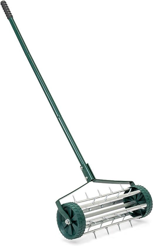 Best Choice Products - Aireador de césped enrollable para jardín de césped y cuidado del suelo con mango de acero, 2 ruedas, pinchos de pincho, color verde: Amazon.es: Jardín