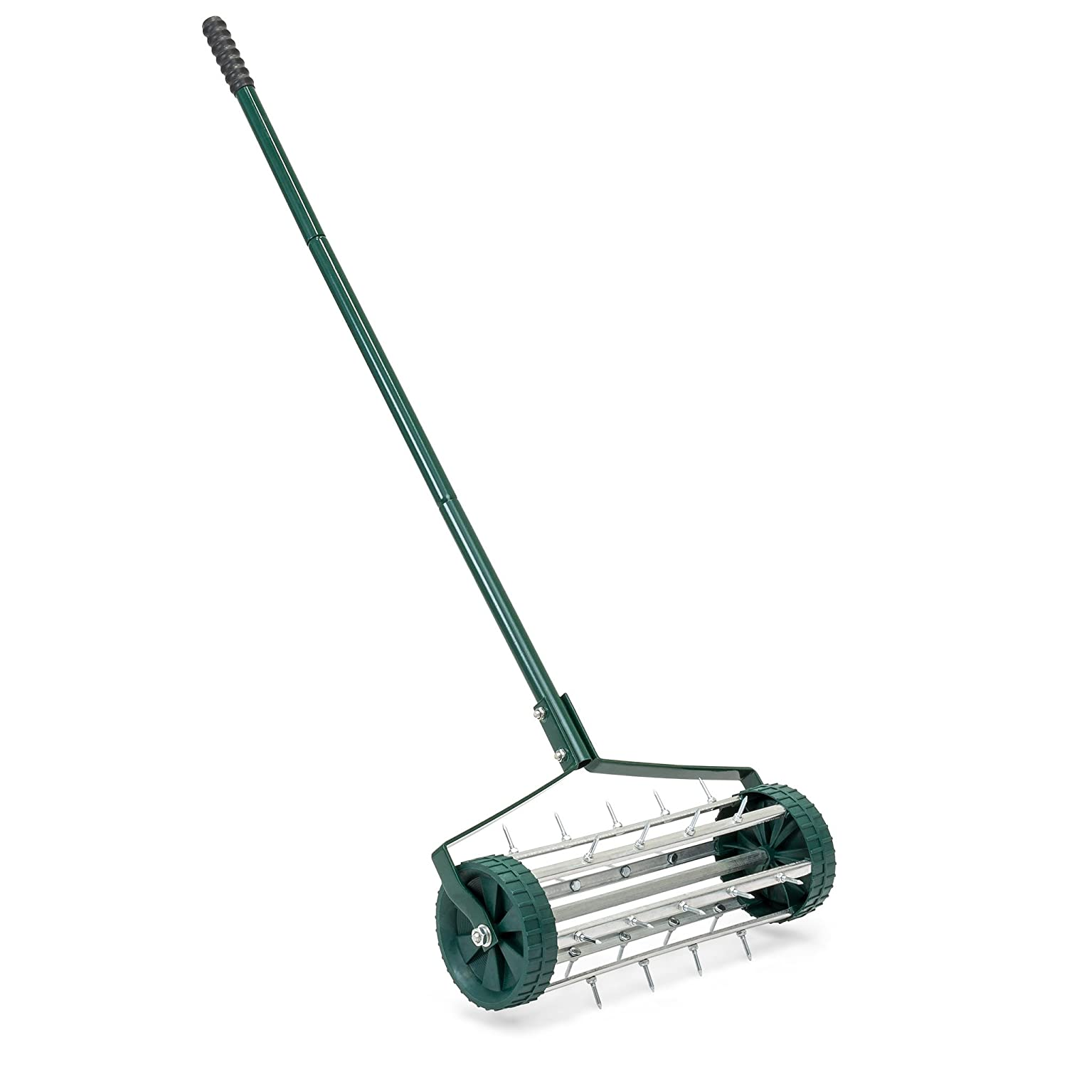 Best Choice Products 18in Rolling Lawn Aerator Gardening Tool for Grass Maintenance, Soil Care w/Tine Spikes, 50in Handle - Dark Green