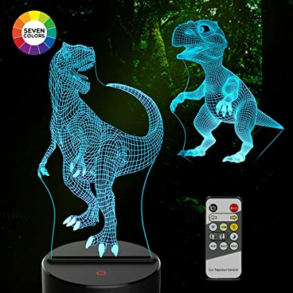 Night Lights Dinosaur 3d Kids Night Light 7 Colors Changing 3d Lamp Remote Control Table Desk Lamps, Lighting & Ceiling Fans