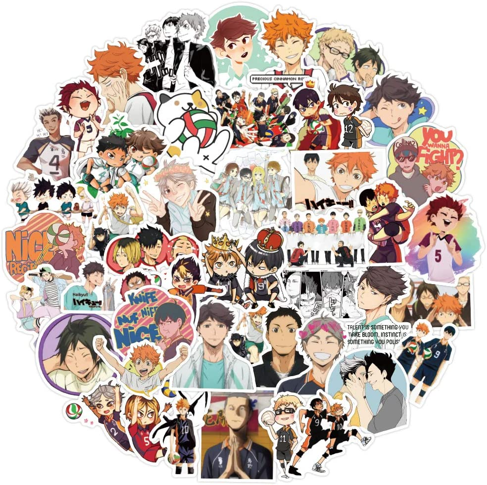 Anime Haikyu Stickers 102 PCS Kid Teen and Adult Vinyl Decal Waterproof Water Bottle Sticker Variety for Skateboard Car Motorcycle Bicycle Luggage Decal Graffiti Patches