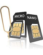 innoGadgets Nano-SIM Adapter Set | Komplettes Adapter-Set für Nano-SIM auf Micro-SIM auf SIM | Inklusive SIM-Öffner-Nadel | Für alle Geräte geeignet