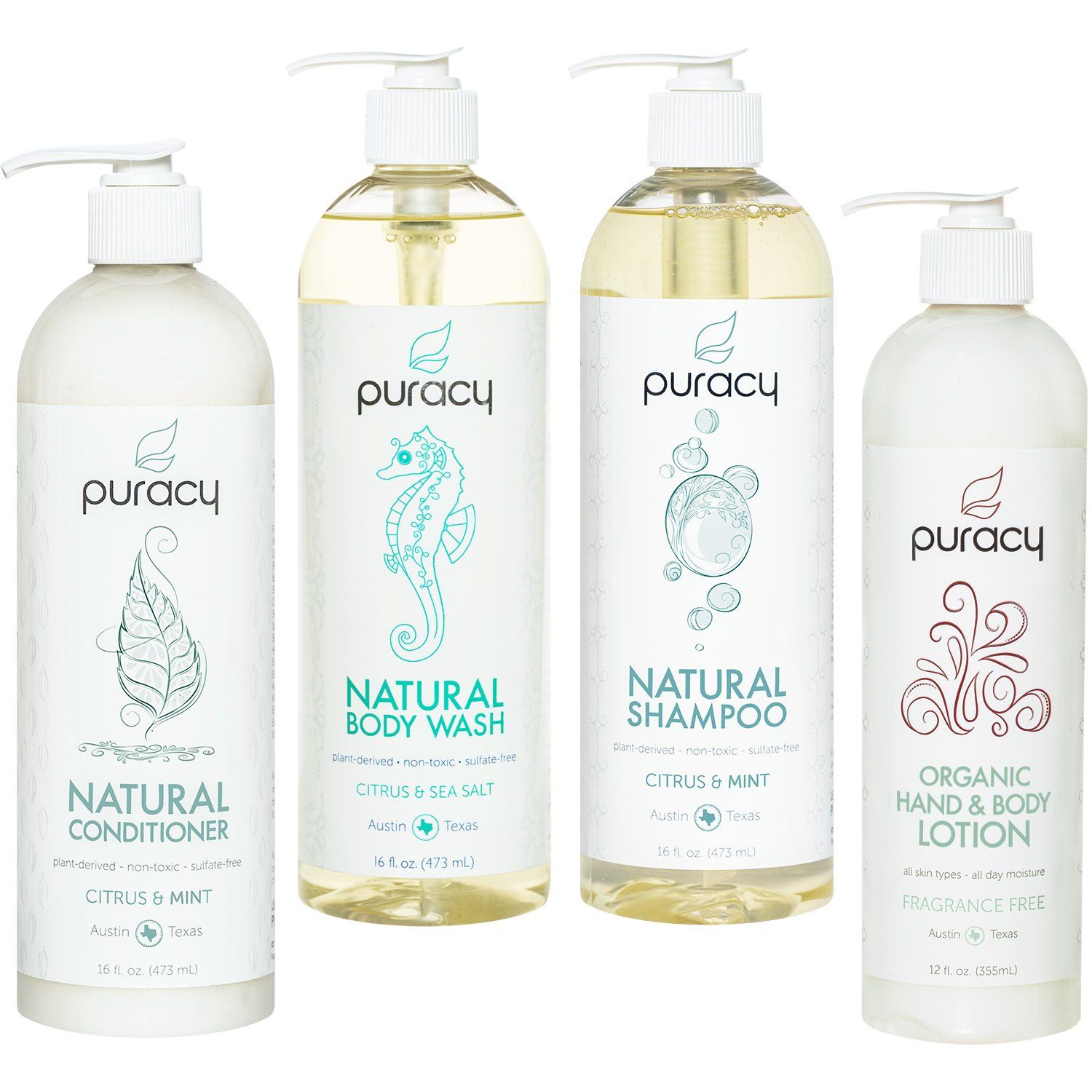 Puracy Organic Hair & Skin Care Set, Natural Body Wash, Shampoo, Conditioner, Lotion (4-Pack) by Puracy