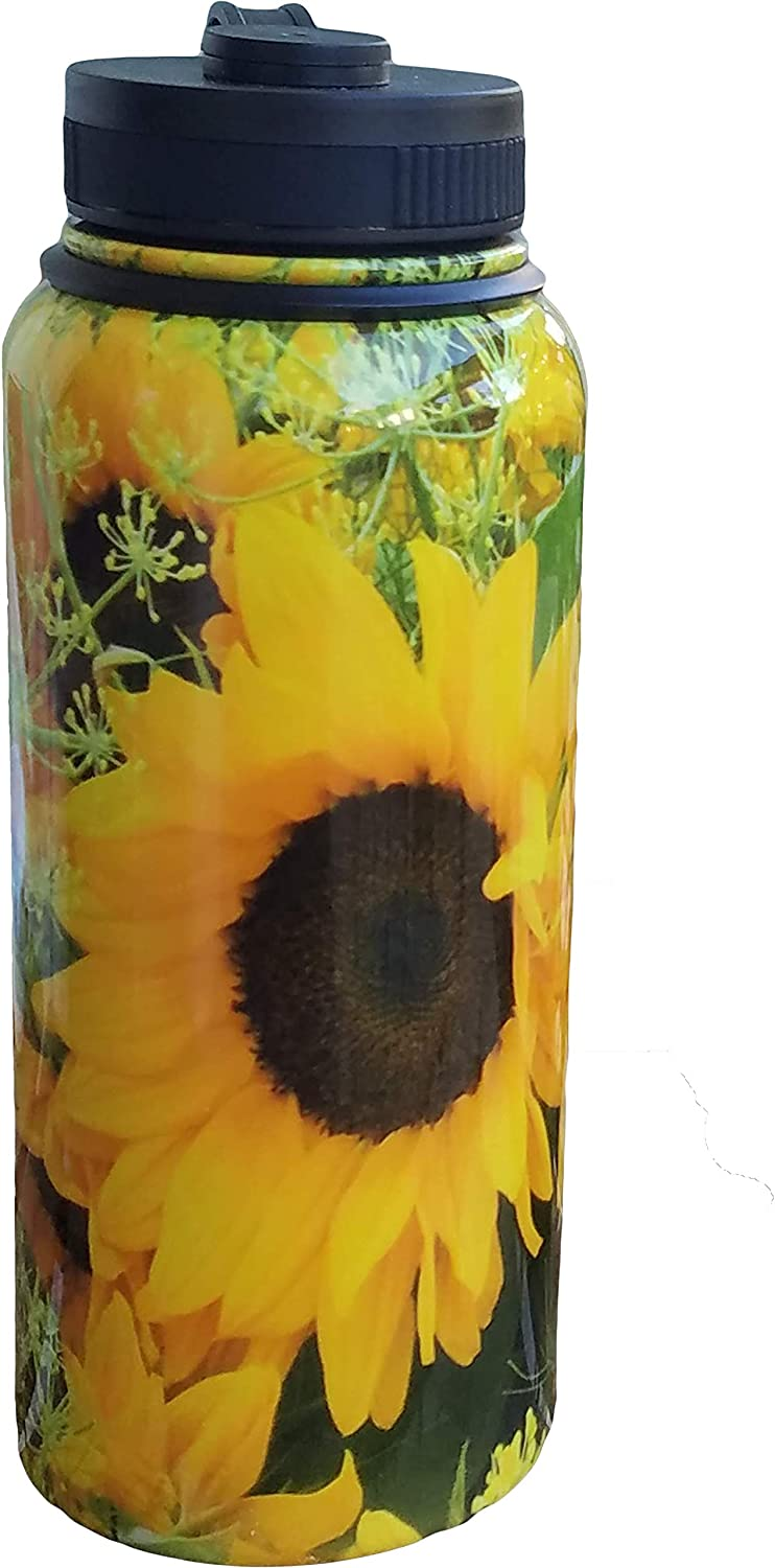 Sunflower Water Bottle, Vacuum Insulated Stainless-Steel Metal, Beach Bottle, Sports and Travel Water Bottle, Keeps Your Beverages Cold or Hot for 12 Hours, Wide Mouth Opening with Lid