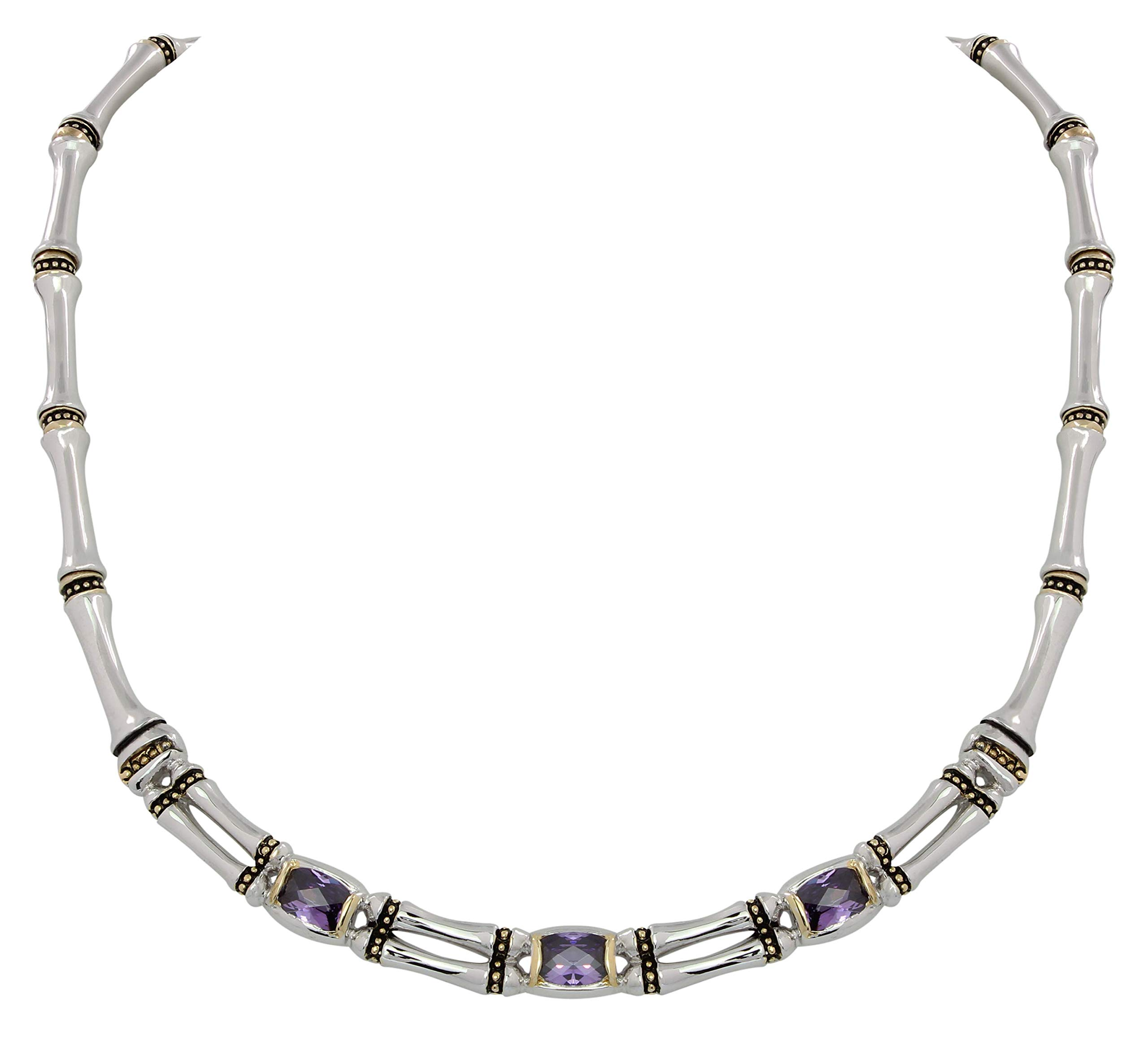 Gold and Silver Tone Two Row Hinged 16'' Necklace with Amethyst Colored Stones Made in USA