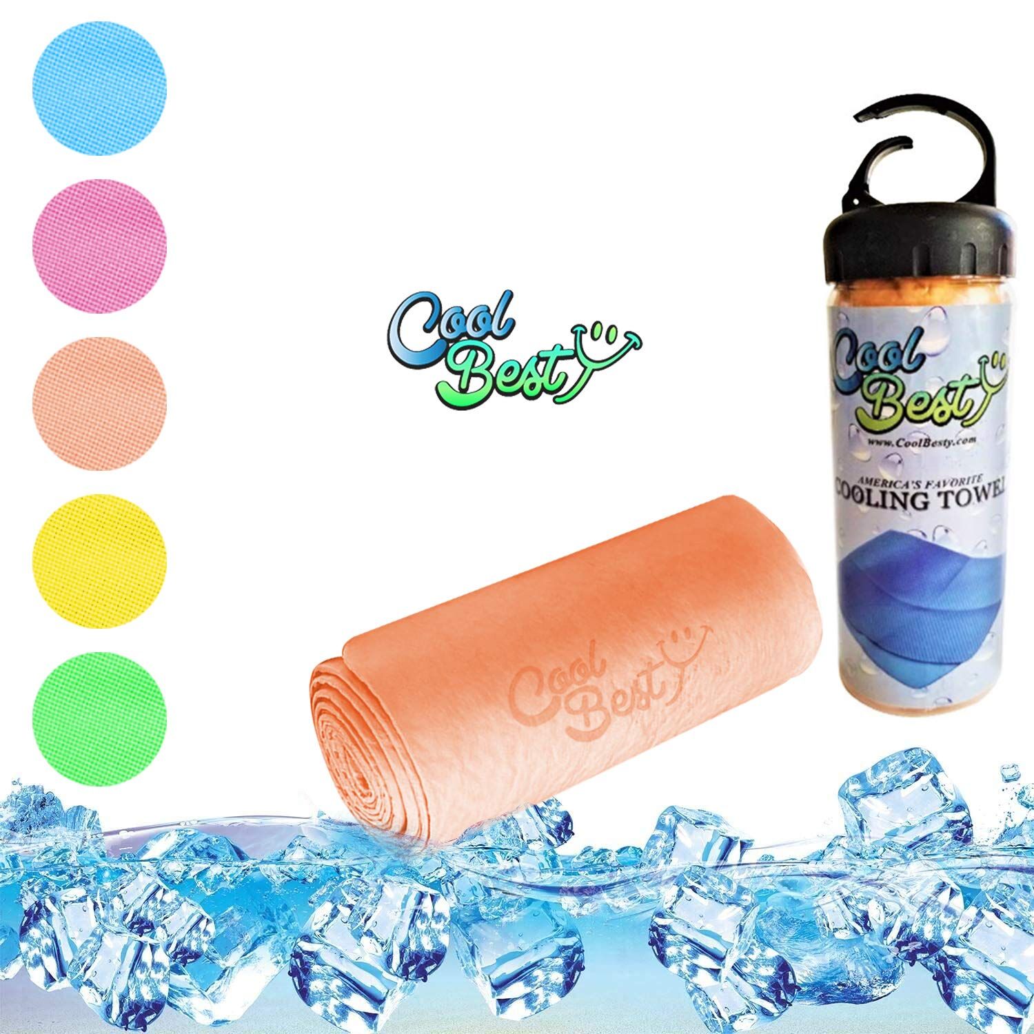 Cool Besty Cooling Towels for Workout Tennis Golf Biking - Best for Any Sport Activities & Athletes Cold Towel - Chilly Pad Instant Cooling Snap Towel - Perfect for Gym-Orange
