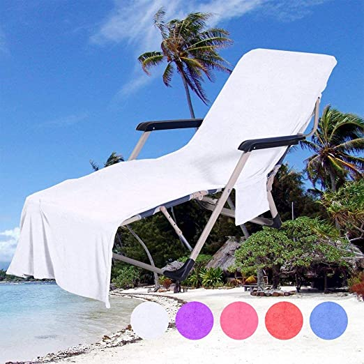 QCWN - Funda para silla de playa, de microfibra, para tumbona, tumbona de jardín, con bolsa de bolsillos (blanco #1): Amazon.es: Hogar