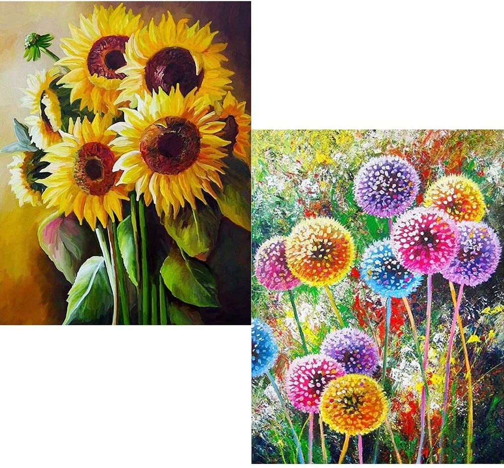 Moguer 2 Pack 5D Diamond Painting, 30x40cm Sunflowers Dandelion Embroidery Cross Stitch Pictures Arts Craft Canvas for Home Wall Decor