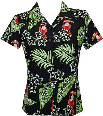 Camisa Hawaiana para Mujer con Flores de tucán de Verano Aloha Beach Top Blusa Negro Negro (XXL: Amazon.es: Ropa y accesorios