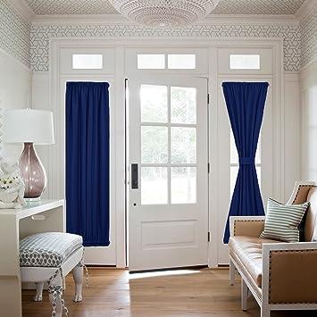 amazon com navy blue sidelight door panel window treatment