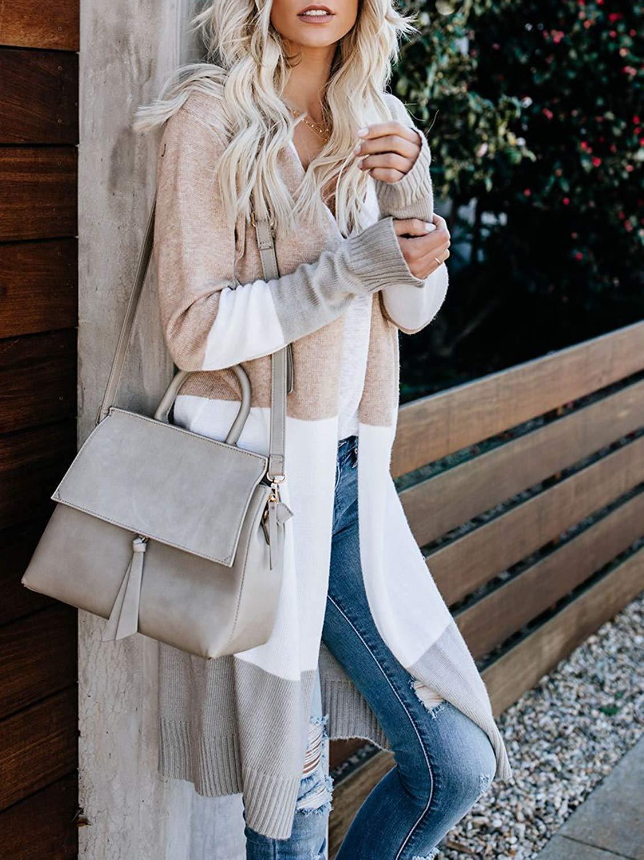 Owin Long Sleeve Colorblock Cardigans for Women Loose Open Front Lightweight Sweater Cardigan Oversize Sweaters Knitwear Tops Khaki, Medium