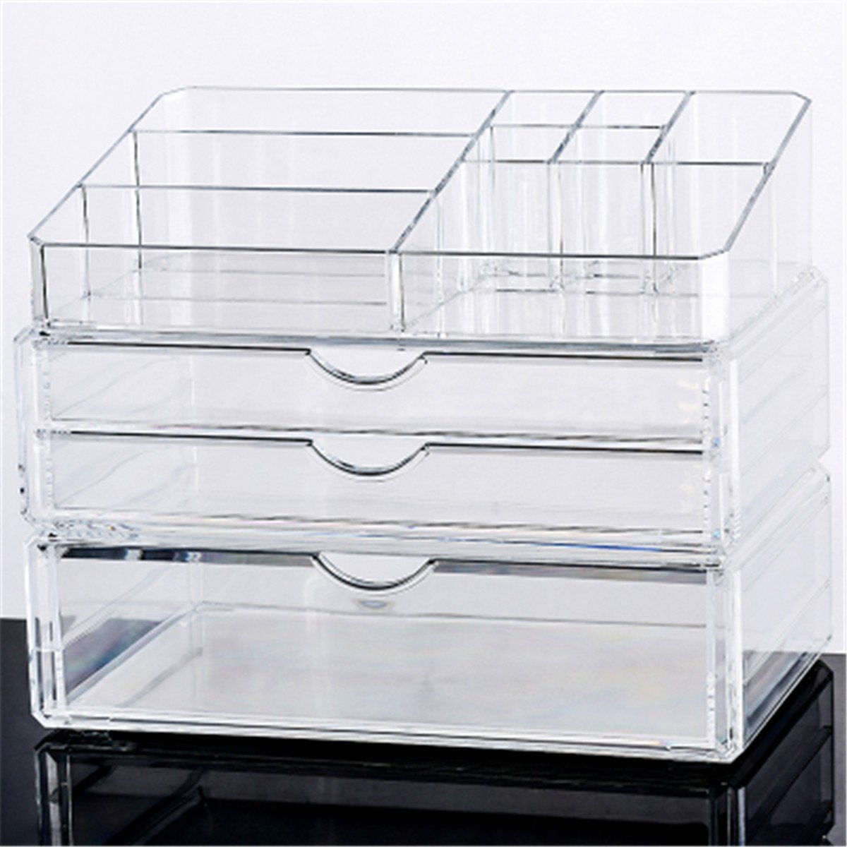BAIHT HOME Acrylic Clear Makeup Cosmetic Organizer Jewelry Storage Drawers Display Sets Boxes Case Stackable and Interchangeable, 3 Pieces Set