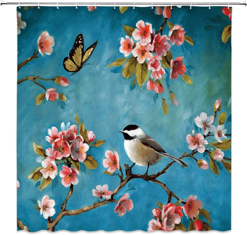 Flowers Birds Shower Curtain Decor Pink Peach Blossom Butterfly Leaves Branches Teal Natural Spring Oil Painting Fabric Bath Curtains Bathroom Accessories Polyester with Plastic Hooks 70x70 Inch