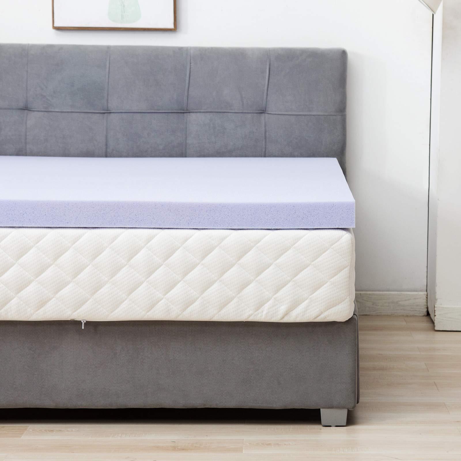 Mecor 4 Inch 4'' Mattress Topper Full Size-100% Gel Infused Memory Foam Mattress Topper w/CertiPUR-US Certified Foam, Pressure-Relieving Bed Topper Purple