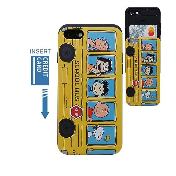 wholesale dealer 9b865 99d96 [iPhone 7 Wallet Case/iPhone 8 Wallet Case] Kubrick PEANUTS Snoopy Charlie  Brown Slide Bumper Phone Case Dual Layer Card Wallet Holder (PEANUTS School  ...