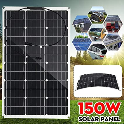 Amazon Com Huajin Solar Panel 150w 18v Semi Flexible Monocrystalline Solar Cell Diy Module Cable Outdoor Connector Battery Charger Waterproof Sports Outdoors