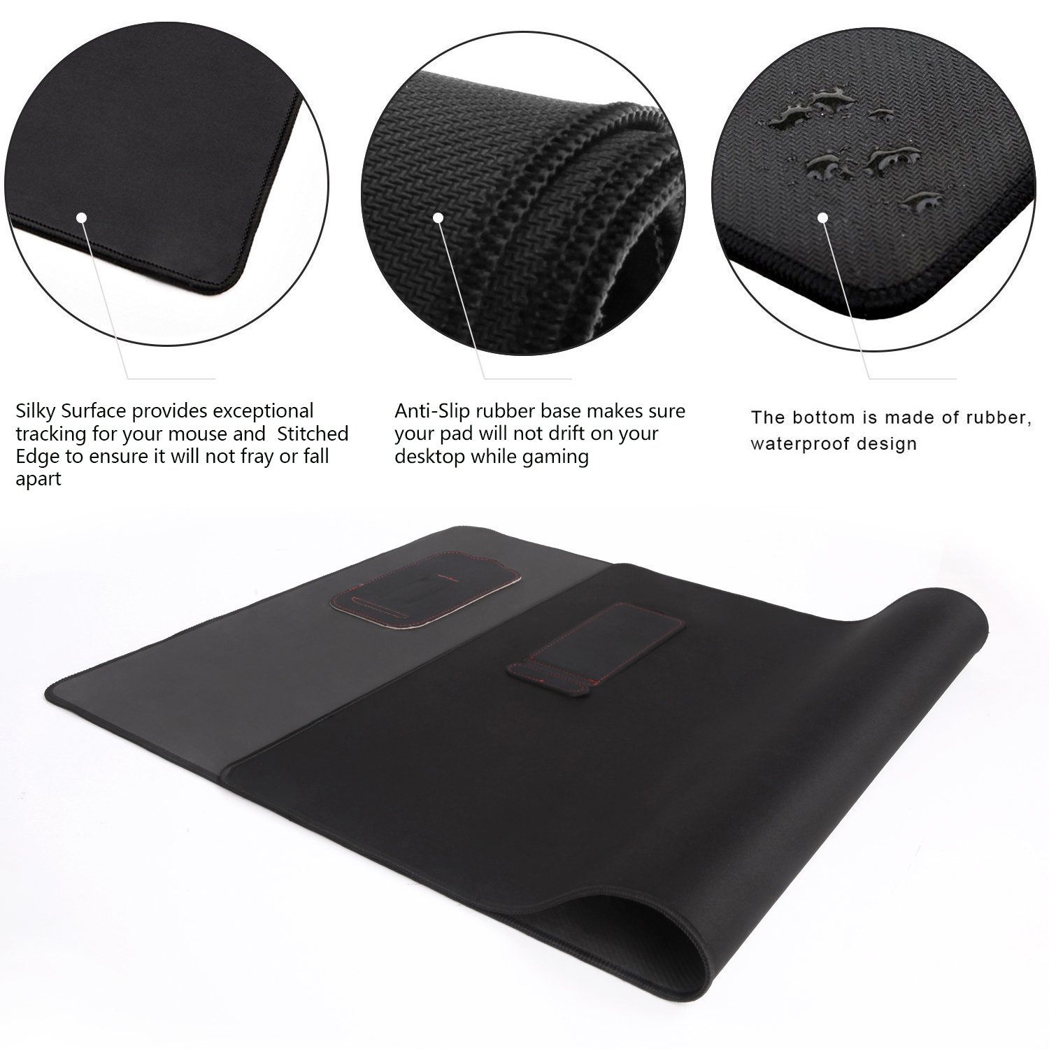Large Extended Gaming Mouse Pad XXL, Vogek Thick Large 34''x23'' Computer Keyboard Mouse Mat Waterproof Desk Pad with 2 Kick Stands for Smart Phones Black by Vogek (Image #4)