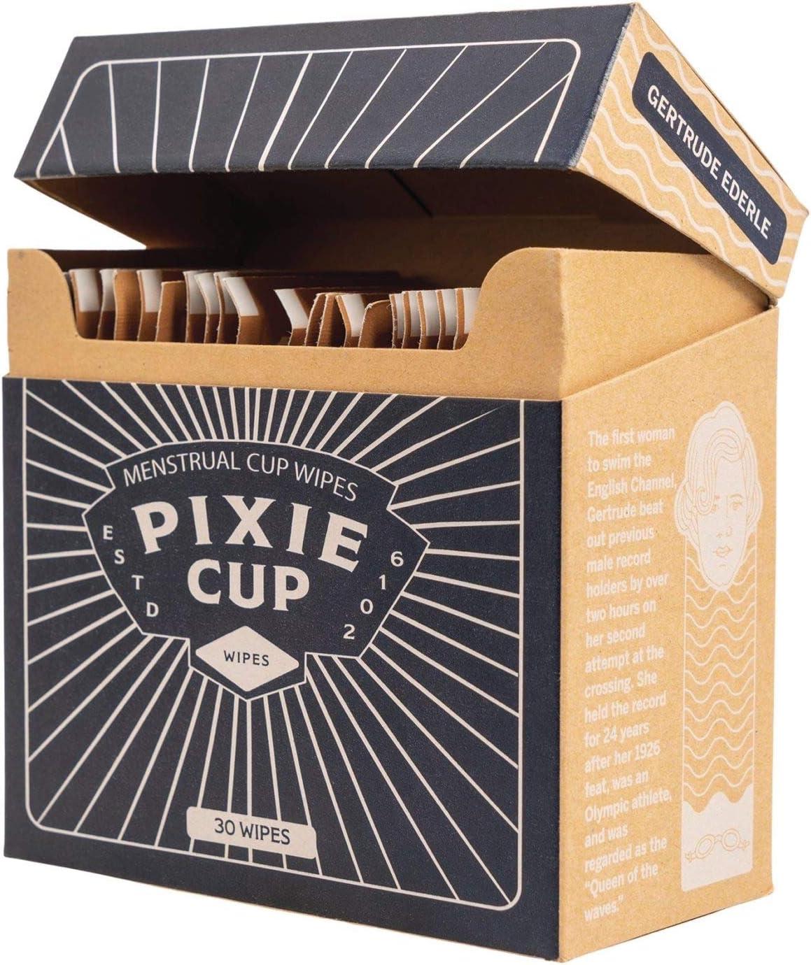 Pixie Cup Las toallitas recomendado para su Copas período de 100% Biodegradable Libre de Alcohol antiséptico olor floral